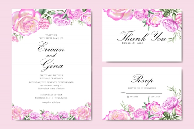 Watercolor wedding invitation card template with floral and leaves