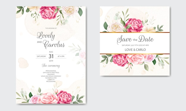 Watercolor wedding invitation card template with a flower and leaves frame