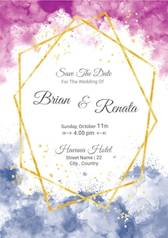 Watercolor wedding invitation card template with gold glitter and line decoration
