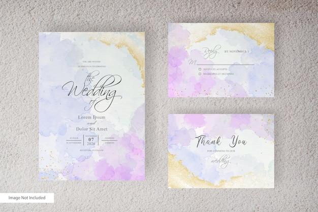 手描きの液体水彩で水彩結婚式の招待カードテンプレート