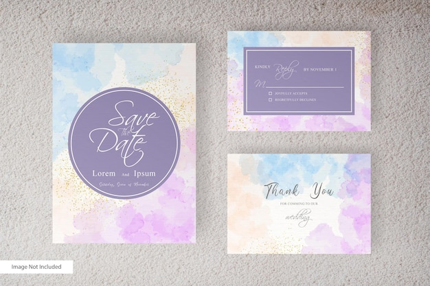 Watercolor wedding invitation card template with  hand painted liquid watercolor