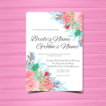 Watercolor wedding invitation card template with pink flowers