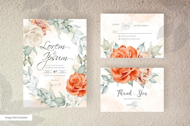 Watercolor wedding invitation card template with wreath arrangement floral