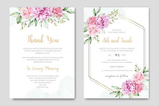 Watercolor wedding invitation card with beautiful floral and leaves template
