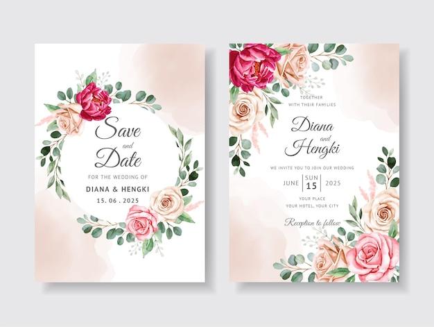 美しい花柄の水彩結婚式の招待カード