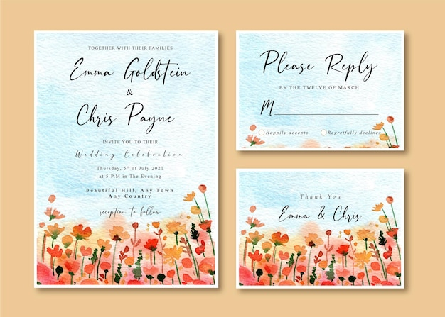 Watercolor wedding invitation card with blue sky and red wildflowers garden