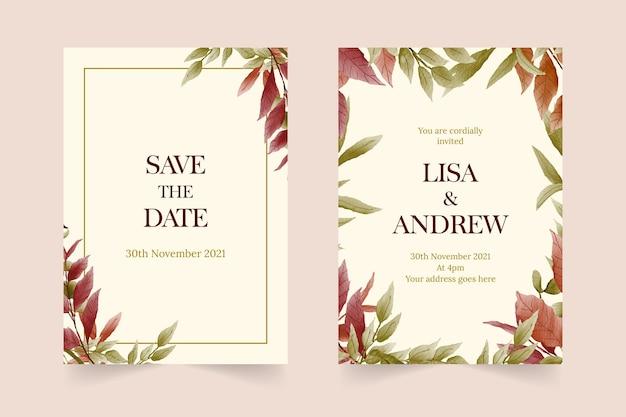 カラフルな葉と水彩の結婚式の招待カード