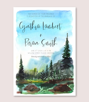 Акварельная свадебная пригласительная открытка с лесом и природным ландшафтом озера