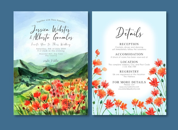 Watercolor wedding invitation card with mountain and orange wildflowers field