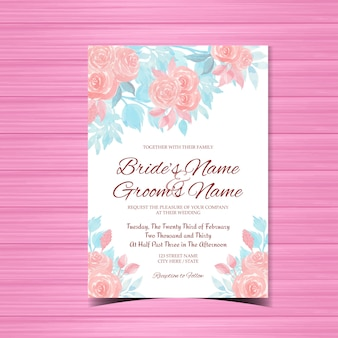Watercolor wedding invitation card with pink roses