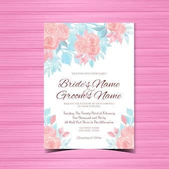 ピンクのバラと水彩の結婚式の招待カード