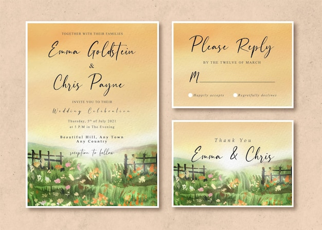 Watercolor wedding invitation card with sunrise in the grass field