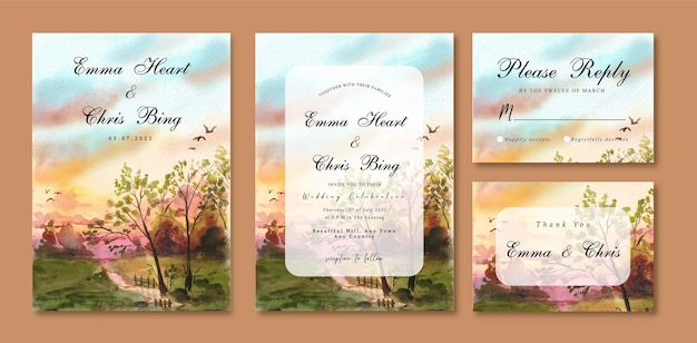 Watercolor wedding invitation card with sunset sky and trees