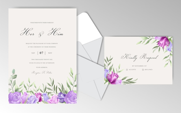 Watercolor wedding invitation cards with beautiful rose