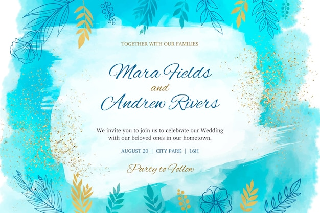 Watercolor wedding invitation concept