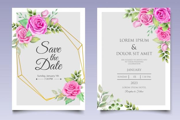 Watercolor wedding invitation design template