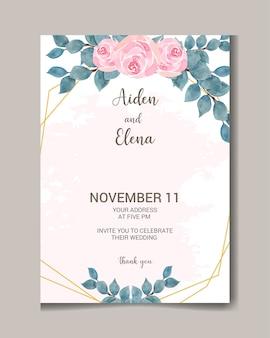 Акварельные свадебные приглашения цветочные и рисованной карты