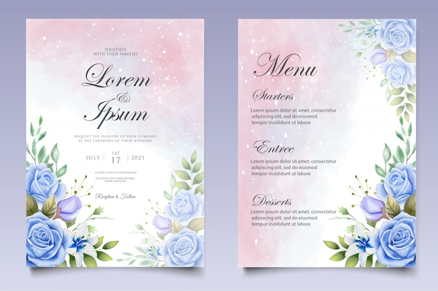 Акварель свадебное приглашение цветочные и листья шаблон карты