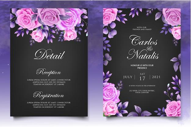 水彩結婚式招待状花と葉カードテンプレート