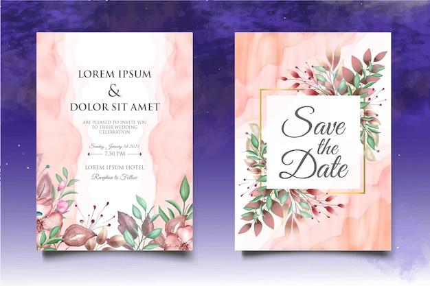 水彩の結婚式の招待状の花と葉のカードテンプレート