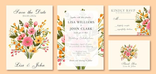 水彩の結婚式の招待状フローラルブーケ春ピンクと黄色