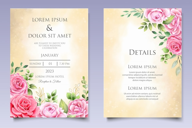 Watercolor wedding invitation floral and leaves card template