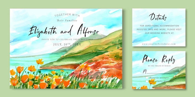 Watercolor wedding invitation landscape of beach sea and cliff full of flowers