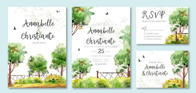 緑の木々や鳥の水彩画の結婚式の招待状