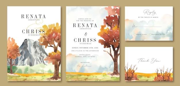 ロッキー山脈の景色と黄色い秋の木の水彩画の結婚式の招待状