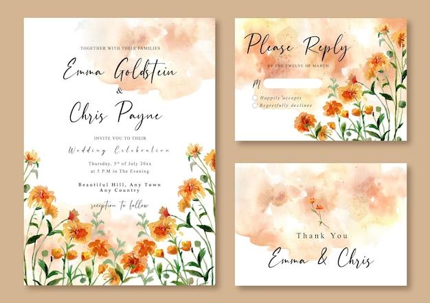 Акварельное свадебное приглашение из желтых полевых цветов и абстрактный фон