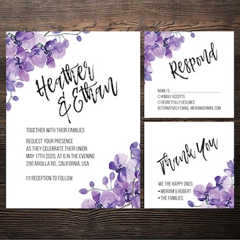 Watercolor wedding invitation orchid set