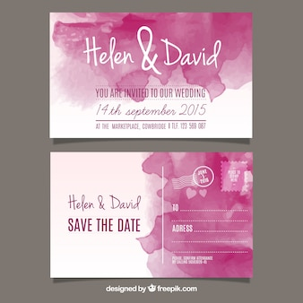 Watercolor wedding invitation in post card style Free Vector