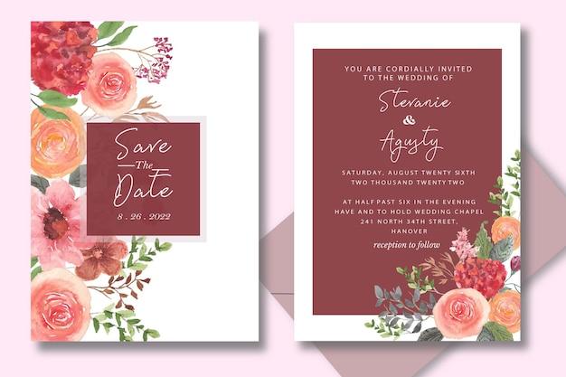花と葉を手描きで水彩結婚式の招待状セットカード