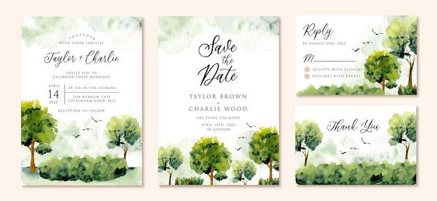Watercolor wedding invitation set with green landscape