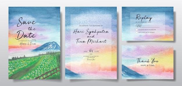 하늘과 언덕 풍경으로 설정 수채화 청첩장