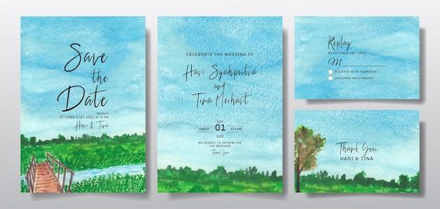 하늘과 나무 풍경으로 설정 수채화 청첩장