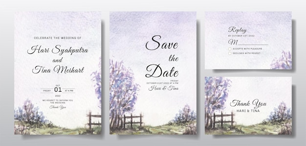 Watercolor wedding invitation set with sky and tree landscape