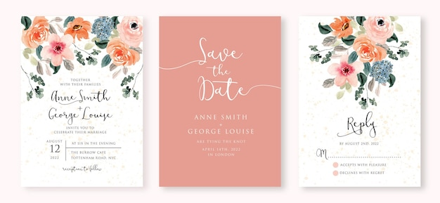 Watercolor wedding invitation set with soft lush floral