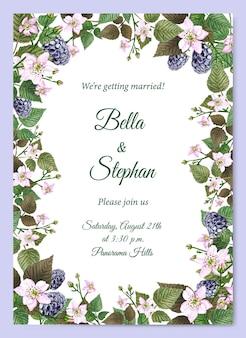 수채화 결혼식 초대장 템플릿입니다. 초대장과 카드를 위한 밝은 여름 프레임입니다.