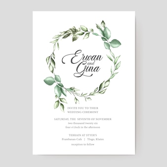 Watercolor wedding invitation template card design
