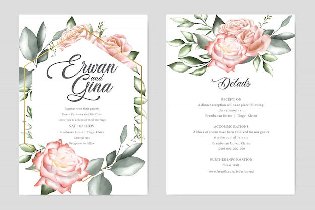 Watercolor wedding invitation template card template