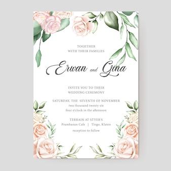 Watercolor wedding invitation template card