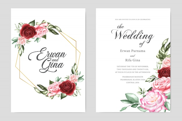 Watercolor wedding invitation template card