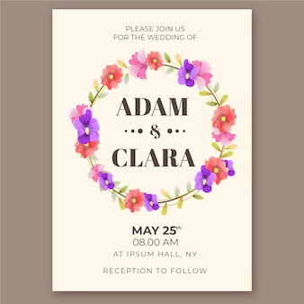 Watercolor wedding invitation template concept