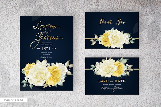 Watercolor wedding invitation template design with yellow flower and leaves arrangement