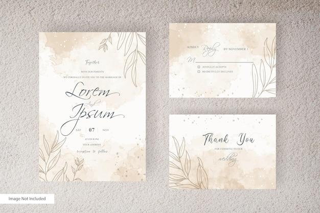 抽象的な水彩スプラッシュと手描きの液体水彩画と水彩の結婚式の招待状のテンプレート