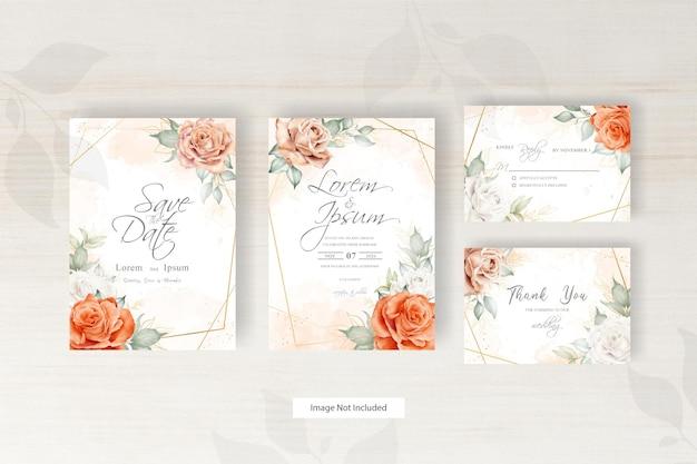 Акварель свадебное приглашение шаблон с цветочной композицией и рисованной цветочной геометрической рамкой