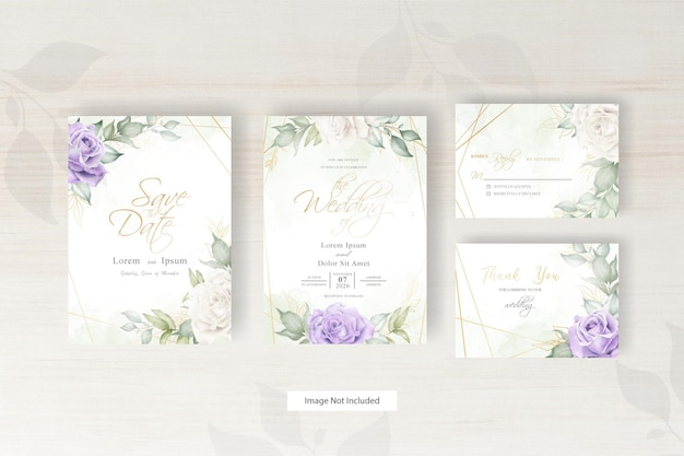 Watercolor wedding invitation template with arrangement floral and hand drawn floral geometric frame
