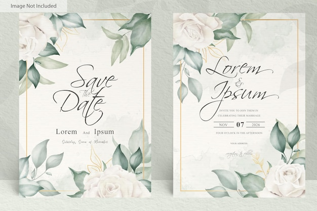 Watercolor wedding invitation template with arrangement flower and leaves
