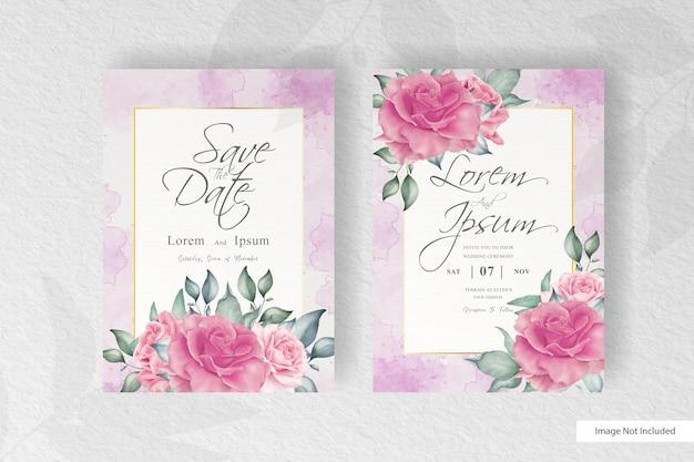 아름 다운 꽃과 잎 수채화 결혼식 초대장 서식 파일